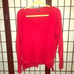 Express cotton blend red sweater medium